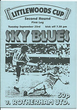 Coventry City v Rotherham United Programme Littlewoods Cup 1986