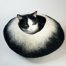 Black White Walking Palm Cat Cave Pet Bed LARGE  For Cats and Dogs