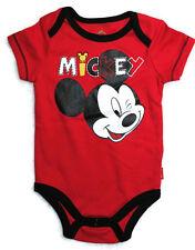 NEW DISNEY BABY Boys Short Sleeve One Piece Bodysuit MICKEY Top Shirt Sz 3-6 Mo