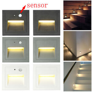 3W LED Motion-sensor Wall Plinth Stair Lamp Corridor Hall Corner Light 85-265V