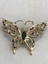 Emeralds and Diamonds Pin/Brooch Pendant 14K Yellow Gold Sapphires, Rubies,