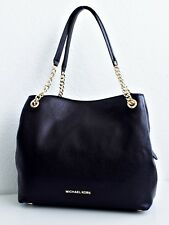 Michael Kors Jet set Large Chain Shoulder Bag Hobo Tote Leather Black Stud
