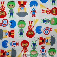 BonEful Fabric Cotton Quilt Red White Blue Super Hero Baby Captain America SCRAP