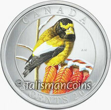 Canada 2012 Colorful Birds Evening Grosbeak 25 Cent Color Specimen Quarter