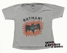 Junk Food Batman Symbol Off The Shoulder Vintage Junior T-Shirt