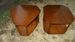 Pair of Walnut Mid Century Danish End Tables / Side Tables  (T44)