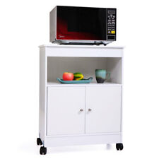 White Wood Cabinet Microwave Cart Storage Shelf Space Saver 4 Casters Kitchen