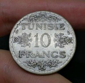 Tunisia Silver 10 Franc AH1353 (1934 AD) Good Coin Great Condition (8)