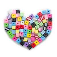 50 Piece Random Mixed Square Resin Stripe Jewelry Making Spacer Beads 8-10mm
