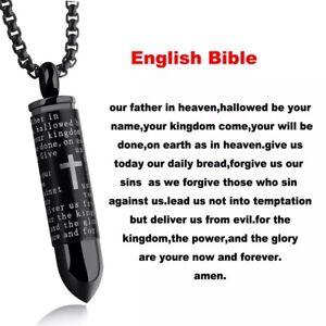Men Cross Pendant Necklace Stainless Steel Lord's Prayer Bullet Chain US