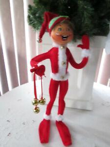 "Annalee Doll 14"" Red Jinglebell Christmas Elf, 2018, Prestine. NMWT"