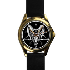Satanic Symbols Baphomet and the Pentacle Black Leather Strap Wrist Watch