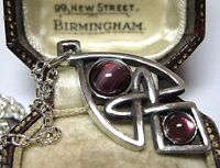 NEW VINTAGE DESIGN MIRACLE JEWELLERY CELTIC KNOT AMETHYST GLASS Pendant NECKLACE