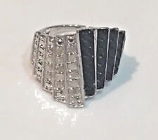 1 CT Black & White Art Deco Diamond Ring, Platinum, SS, .925 Size 6