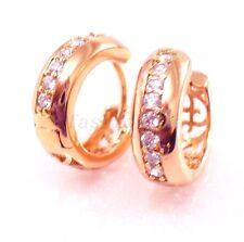 Men Women Unisex Rose Gold Plated CZ Cubic Zirconia Crystal Huggie Hoop Earrings
