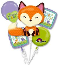 Anagram WELCOME BABY Woodland Fox Foil Balloon Bouquet 5 Balloons