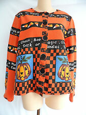 Sport Elle Petite Halloween Sweater Cardigan Trick or Treat Ghost Pumpkin Small