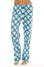 Womens Cotton Pajama Pants Sleepwear PJs Skulls Blue 2X Plus