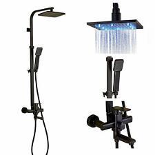 Luz Led Cuadrado Grifo de la ducha de lluvia sistema Bañera Grifo Mezclador Con Spray De Mano Orb