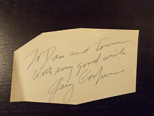 GARY COOPER SIGNED ODD SHAPED PIECE OF CARDSTOCK PAPER
