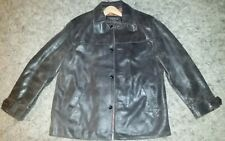 Oakwood Classic Distressed Brown Rustic Rough Hewn Leather Lined Coat Jacket L