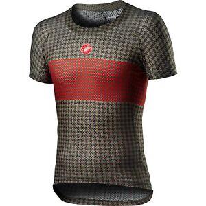 Castelli Pro Mesh Men's Bike Short Sleeve Base Layer Bark Green / Fiery Red