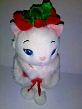 "Disney Christmas White Marie Cat  7"" Plush Stuffed Animal"