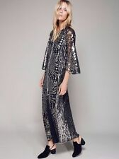 Free People Anna Sui Silver Sequin Maxi Dress-P