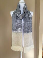 Mexican Rebozo Handmade Cotton Black and White Handwoven Shawl Wrap Runner Scarf