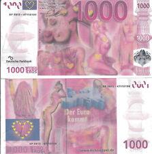 2x 1000 EURO mit Wasserzeichen, Silberstreifen und Hologramm ähnlich echten €