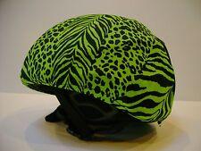 Ski & Sport Helmet cover by Shellskin. Green/Black Animal print Spandex. 1 Size