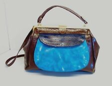 APT 9 BROWN AND BLUE SATCHEL, SHOULDER BAG, HANDBAG, PURSE WITH REMOVABLE STRAP