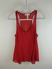 Ambiance Apparel Womens Shirt Size Small Red Racerback Sheer Knit Top