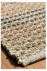 hand made seagrass and hemp flatweave large area rug terra 120 x 170 cm