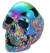 COLORFUL SKULL HEAD STAINLESS STEEL RING size 9 - S-547 biker MEN women SKULLS