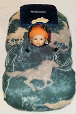 Infant Car Seat Cover Blue Horses Baby n Navy Minky Cozy Embroidery Cowboy Hat