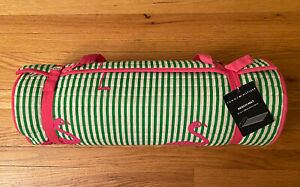 Tommy Hilfger Roll Up Beach Blanket Yoga Mat w/Detached Pillow Carry Strap NEW