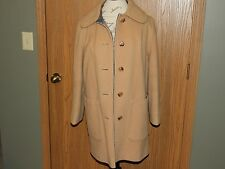 PeaCoat Vtg Penguin M. Liman Co Buckskin/Plaid 100% Wool Woman's Size 10
