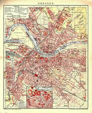 Alter Stadtplan von Dresden Original von 1901 Plan Karte Antik Sachsen Neustadt