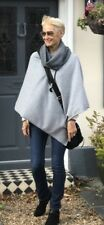 Cashmere Poncho Light Grey Cape Wrap One Size Fits All UK Gray