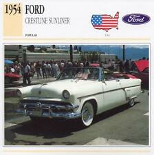 1954 FORD CRESTLINE SUNLINER Classic Car Photograph / Information Maxi Card