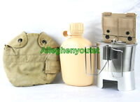 6 Pc Military TAN CANTEEN SET NEW 1QT CANTEEN, ADAPTER, STOVE, CUP,LID w/ Cover