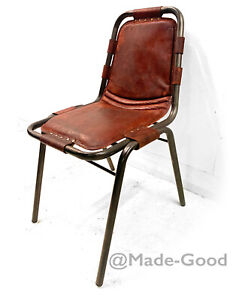 retro vintage bauhaus industrial PERRIAND STYLE  LEATHER SIDE DINING CHAIR