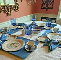 VTG Mismatched China 36 Piece Set for 4 Laura Ashley Wedgwood Crystal Tablescape