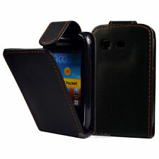 Black pu leather flip case for samsung galaxy pocket s5300