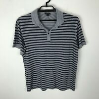 Theory Shirt Mens Size M Gray Polo Striped Lightweight Short Sleeve Cotton