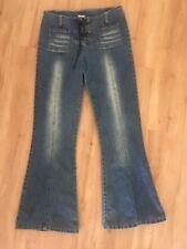 Ladies Vintage 90's Blue Jeans Flares Size 10 TARGET Hippy Denim Lace Up