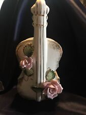Glazed Pottery Chello Wall Vase With Pink Roses
