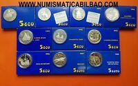 10 monedas x 5 ECUS 1989+1990...1994+1995+1996 EUROS 1997 1998 PLATA FNMT España