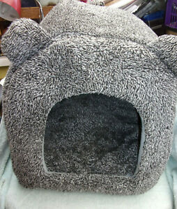Rosewood 40 Winks Teddy Bear Cat Bed, Grey